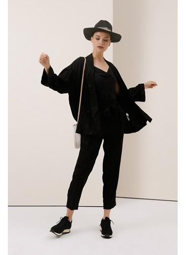 Gusto Jakar Desenli Kimono - Siyah Jakar Desenli Kimono - Siyah Siyah